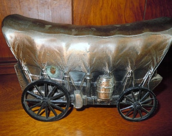 Bronzed Metal Wagon Train Bank