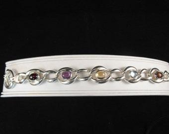 Beautiful Natural Gemstone Sterling Silver Estate Bracelet