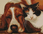 Your Pet Photo Transformed Into Completed Homespun Custom Cross Stitch