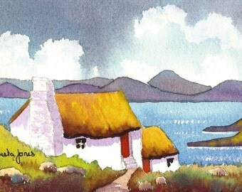 Connemara Cottage, Ireland, Watercolour Print, Size 14ins x 11ins, Gift Idea, Art and Collectibles, Home and Living