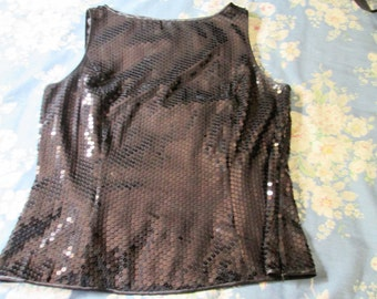 Black Sequined Sleeveless Top / Tank Top / Blouse size 16