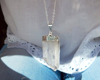 Sterling Silver Dipped Crystal Quartz Necklace