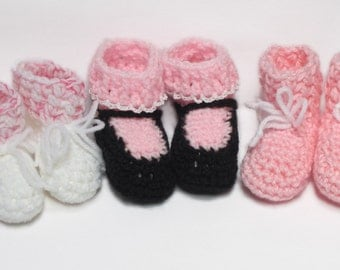 Set of Baby Booties for Girls