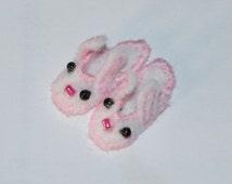 Miniature KIT for 1/12 dollhouse bunny slippers, DIY. Bunny Slippers Kit