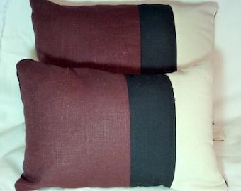 Linen Pillow Covers - Color blocked linen pillows - Burgundy and Black - accent pillows - Linen pillows - decorative pillows