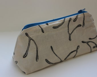 Zippered Flat Bottom Makeup Bag Pencil Case - Wishbones with Blue