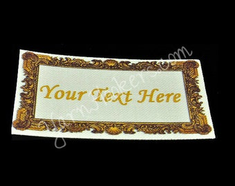 Fancy Frame - White Cotton Custom Printed Labels / Sew in Clothing labels / Personalized Fabric Labels - For Crochet, Knit, Sewing