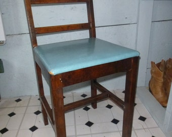Wood Vanity Chair with blue seat