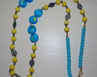Turquoise and Yellow Long Necklace
