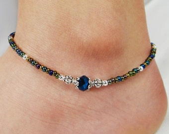 Anklet, Ankle Bracelet, Metallic Blue Anklet , Crystal Anklet, Multi Color Anklet, Ankle Jewelry, Minimalist Anklet, Minimalist Jewelry