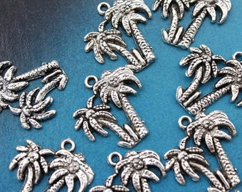 10 Palm Tree Charms Palm Tree Pendants Antiqued Silver Tone 20 x 20 mm