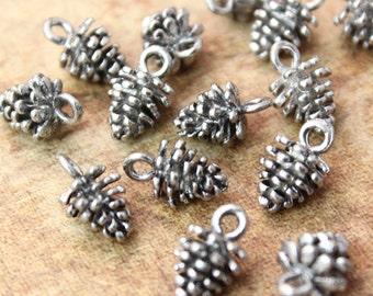 15 Pine Cone Charms Pine Cone Pendants Antiqued Tibetan Silver Tone 3D 8 x 8 mm