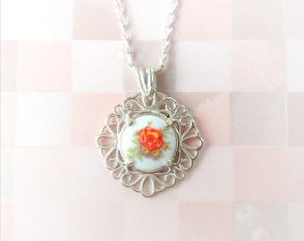 Cameo Necklace | Sterling Silver | Vintage Porcelain Stone | Floral Limoge | Carnelian Red Blossom with Leaves | Filigree Style Pendant