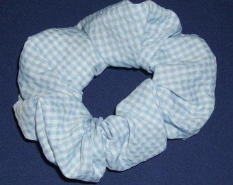 Scrunchie, Blue Gingham Check Seersucker, BL 001