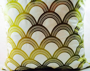 Great Gatsby Old Gold Metallic- 1920s Art Deco Scallop pattern on ivory or crisp white cotton blend pillow -slip cover only