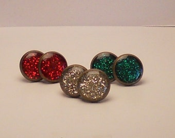 The Christmas Collection Glitter 12mm Post Earrings Set of 3