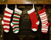 Christmas Stockings Holiday Stockings  Socks Crochet Baby's first knitted Holiday Decoration Red White Green