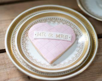 Mr & Mrs Cookie - wedding favour biscuits, wedding gift, love heart biscuit, pink wedding favour