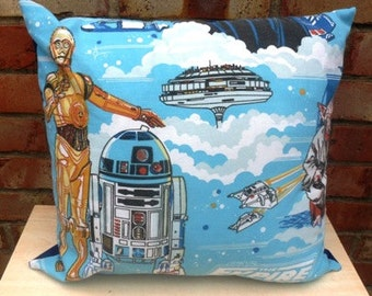 Star Wars R2D2 & C3PO TESB Vintage Fabric Cushion Selection - handmade by Alien Couture