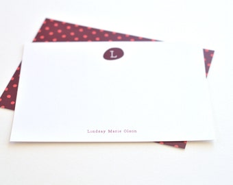 Fig Polkadots // Personalized Stationery // Set of 12