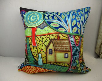 Velvet throw pillowcase cushion covers optional sizes / stroll /Abstract /original FOLK  ART design by Karla Gerard