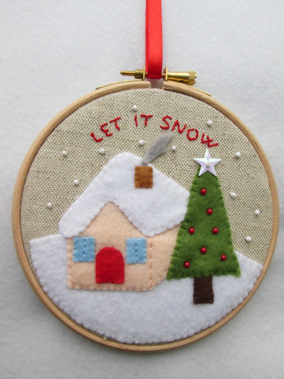 Items similar to christmas embroidery hoop art winter