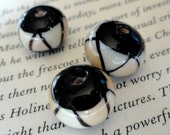 12mm White & Black, Rondelle Glass Lampwork Beads, Jewelry Making, Craft Supply, 132
