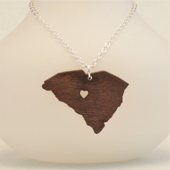 wooden south carolina state necklace custom made going away