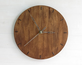 Wooden Wall Clock, Mid Century Clock, Antique Clock, Round Clock, Walnut Decor, Silent Clock, Wall Decor, Wooden Decor, Industrial Clock