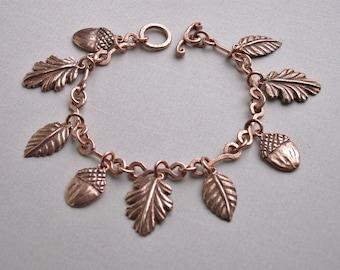 Charm bracelet, copper charm & chain bracelet, handmade copper bracelet, copper jewelry, 7th wedding anniversary, acorn charm, copper charms