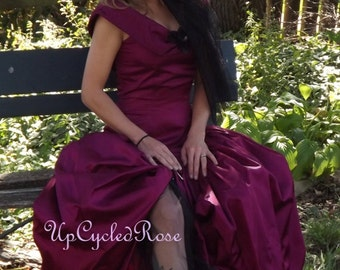 Steamy  Love Bohemian Steampunk Maroon Upcycled  Gown Shoe Bonnet Unique Weddiing