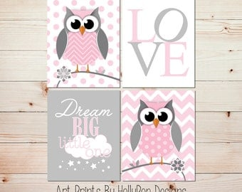 Nursery wall art Owl nursery decor Kids decor Kids wall art Dream big print Pink gray nursery art prints Baby girl nursery artwork #0822