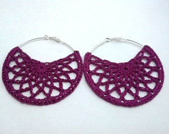 Fuschia Crochet Earrings