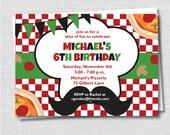 Pizza Birthday Party Invitation - Pizza Party Invite - Mustache Pizza Theme - Digital Design or Printed Invitations - FREE SHIPPING