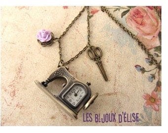 Bronze Antique Sewing Machine Pocket Watch Necklace Pendant With Scissors Charms and Flower Cabochon - Gift Under 20