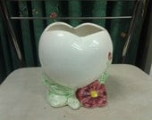 Collectible Ceramic White Open Heart and Pink Flower Planter or Vase 1989 Rubens Original