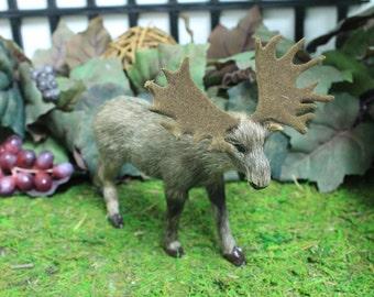 Male Moose Realistic Furry Animal Taxidermy Figurine Cabin Wild Decor Replica Sm