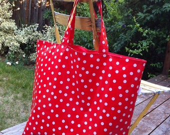 Oilcloth Tote Bag Red with White Polka Dots, Reusable Grocery Bag