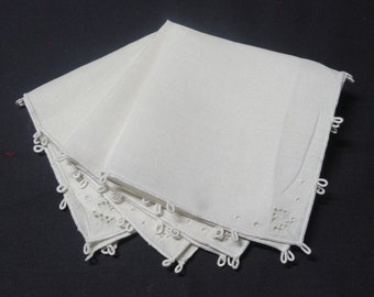 7 Piece Set of 4 White Vintage Tea, Luncheon, or Bridge Napkins with Cutwork & Picot and 3 Matching Doilies or Coasters - Circa 1970s