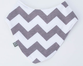grey chevron bib. Scarf. drool bib. Fits infant to toddlers. gray