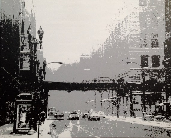 "Chicago Architecture Custom Pop Art Painting 24""x30"" Canvas"