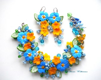 Bracelet and earrings, yellow-blue, bracelet with cornflowers, for her, flowers, decoration, blue bracelet