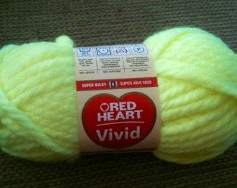 Red Heart Vivid Yarn, Laser Yellow Red Heart Vivid Yarn, Super Bulky 6 Yarn, Yellow Super Bulky Yarn