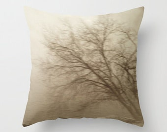 Hudson River/ Pillow/ Tree/Sepia/Brown/Branches