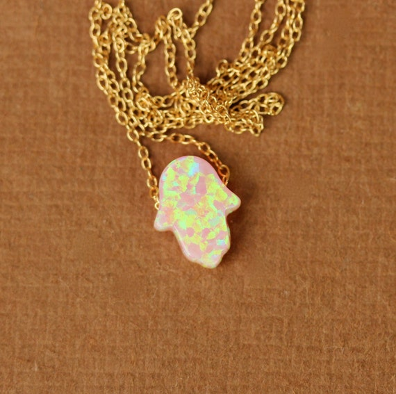 Hamsa necklace - opal hamsa necklace - good luck charm - hand of god - kaballah - pink opal - gold hamsa necklace - silver hamsa necklace