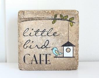 Bird Feeder Decor. Little Bird Cafe. 6x6 Rustic (concrete) stone paver. Bookend. Book end. Garden decor. Outdoor Decor. Little Bird Decor.