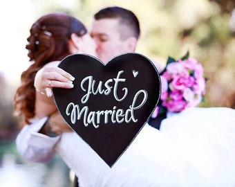 Just Married chalkboard heart.
