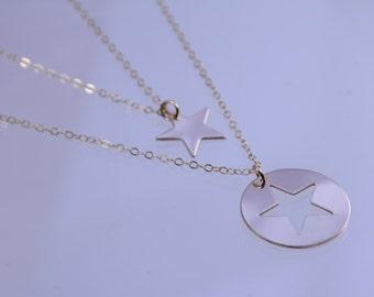 Mom daughter jewellery -  Gold star necklace set, 14K gold filled necklace set