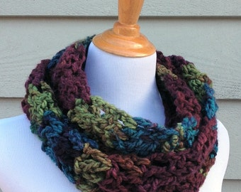 Scarf, Infinity Scarf, Eternity Scarf, Cowl, Crocheted Cowl