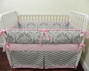 Custom Baby Bedding Set Hope - Girl Crib Bedding, Pink and Gray Baby Bedding, Gray Damask and Chevron with Light Pink